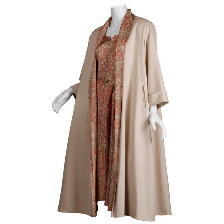 1950s Vintage Pink, Mauve + Beige 3-Piece Matching Dress/ Coat/ Belt Ensemble For Sale