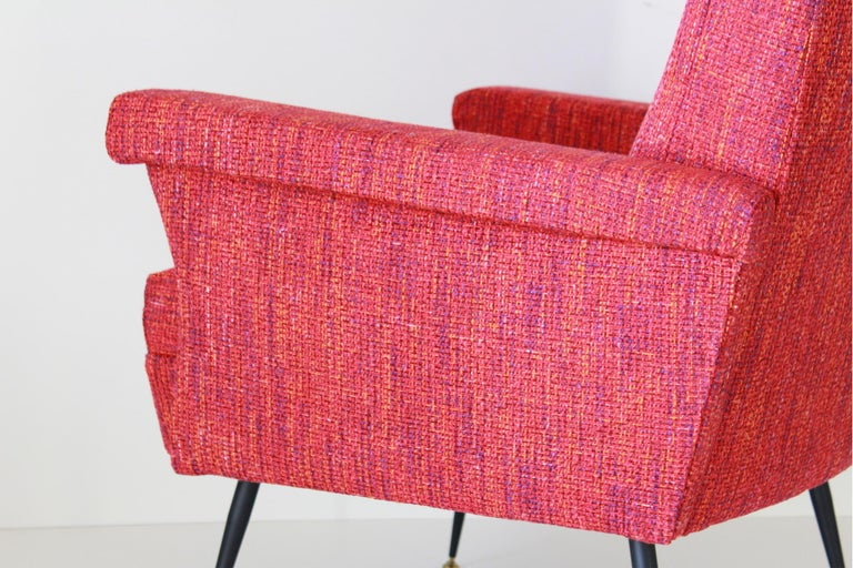 1950s Vintage Red Armchairs, Set of Two For Sale 5