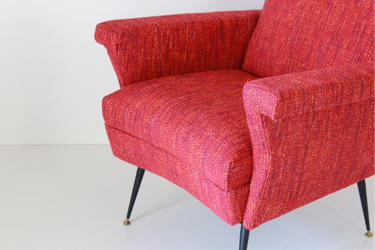 1950s Vintage Red Armchairs, Set of Two For Sale 6