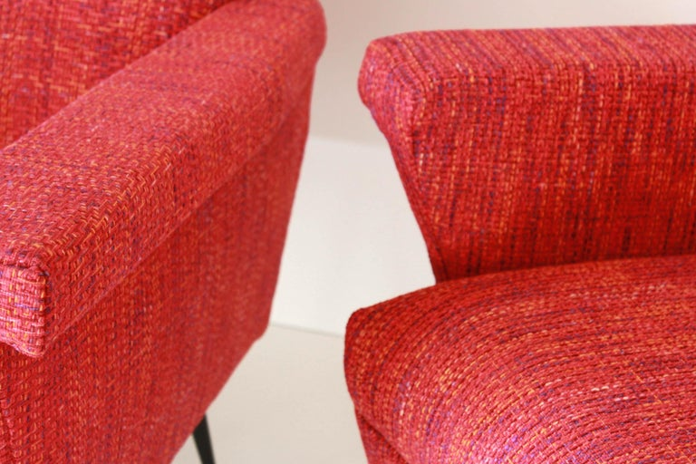 Mid-Century Modern 1950s Vintage Red Armchairs, Set of Two For Sale