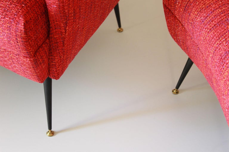 Italian 1950s Vintage Red Armchairs, Set of Two For Sale