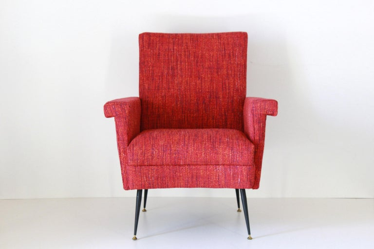 1950s Vintage Red Armchairs, Set of Two In Excellent Condition For Sale In Ceglie Messapica, IT