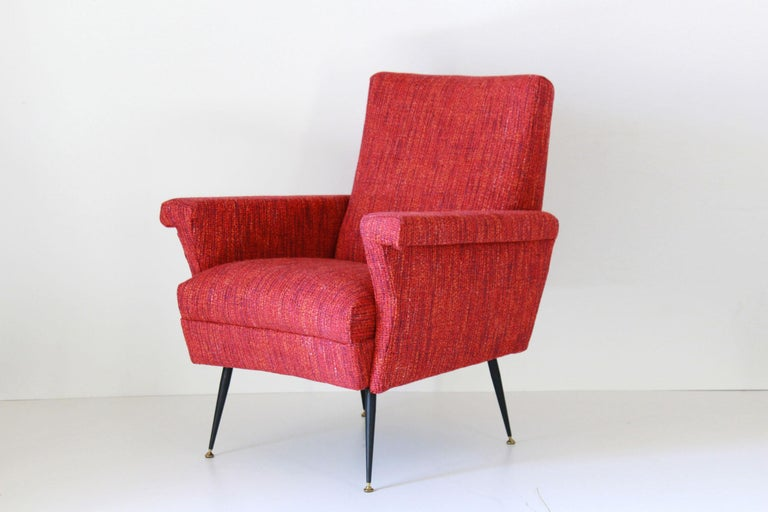 Mid-20th Century 1950s Vintage Red Armchairs, Set of Two For Sale