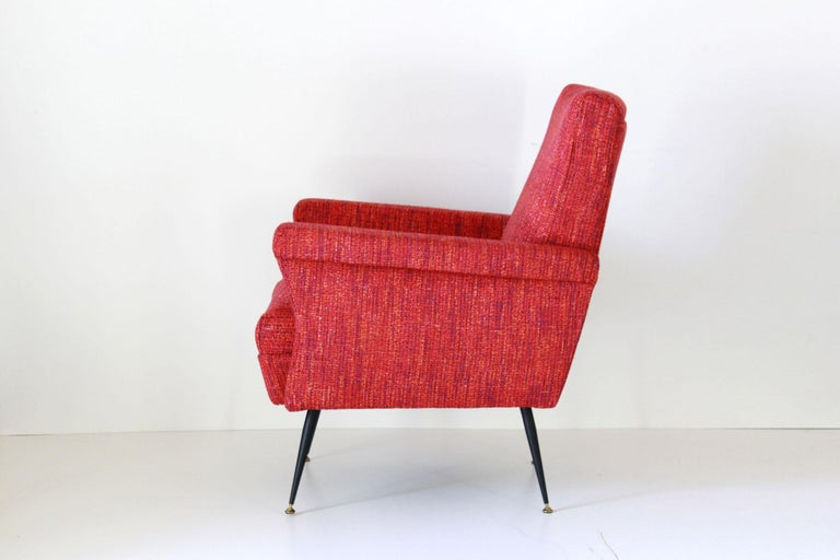 Brass 1950s Vintage Red Armchairs, Set of Two For Sale