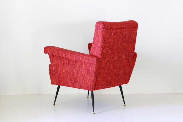 1950s Vintage Red Armchairs, Set of Two For Sale 1