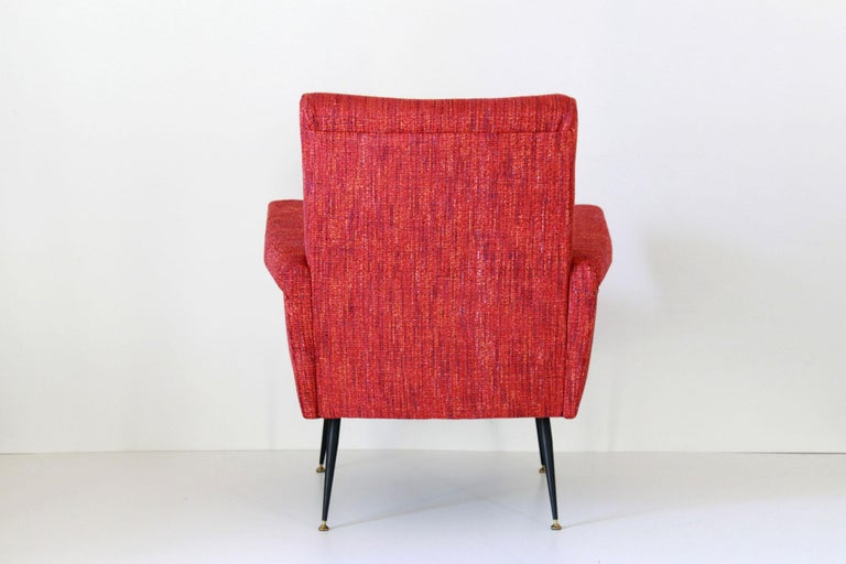 1950s Vintage Red Armchairs, Set of Two For Sale 2