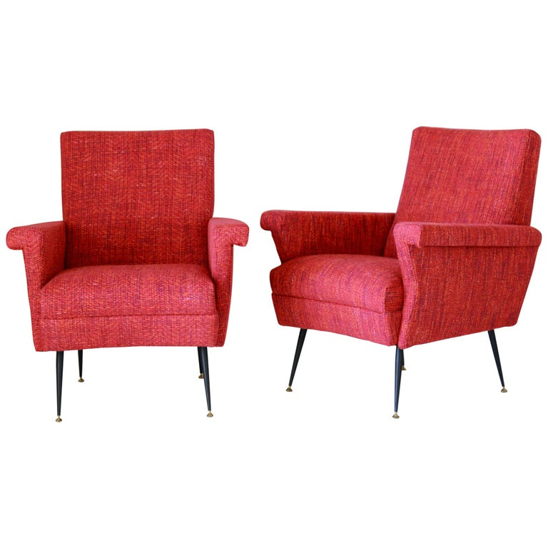 1950s Vintage Red Armchairs, Set of Two For Sale