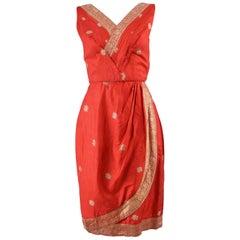 1950s Vintage Red Silk & Gold Brocade Indian Sari Style Fabric Dress
