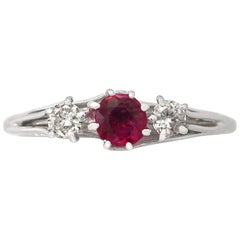 1950s Vintage Ruby and Diamond White Gold Trilogy Ring