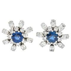 1950's Vintage Sapphire Diamond 18 Karat White Gold Starburst Earrings