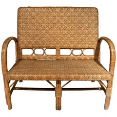 1950s Vintage Spanish Hand Woven 2-Seater Bamboo Sofa