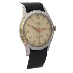 1950s Vintage Stainless Steel Back Mechanical Swiss Watch