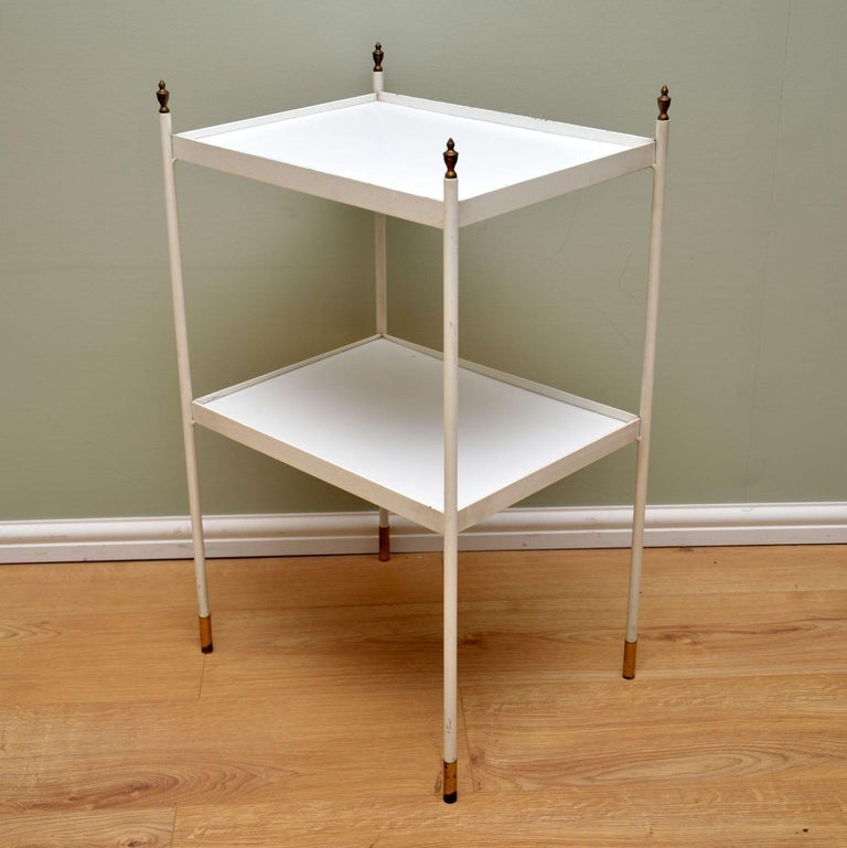 Mid-Century Modern 1950s Vintage Steel and Brass Side Table