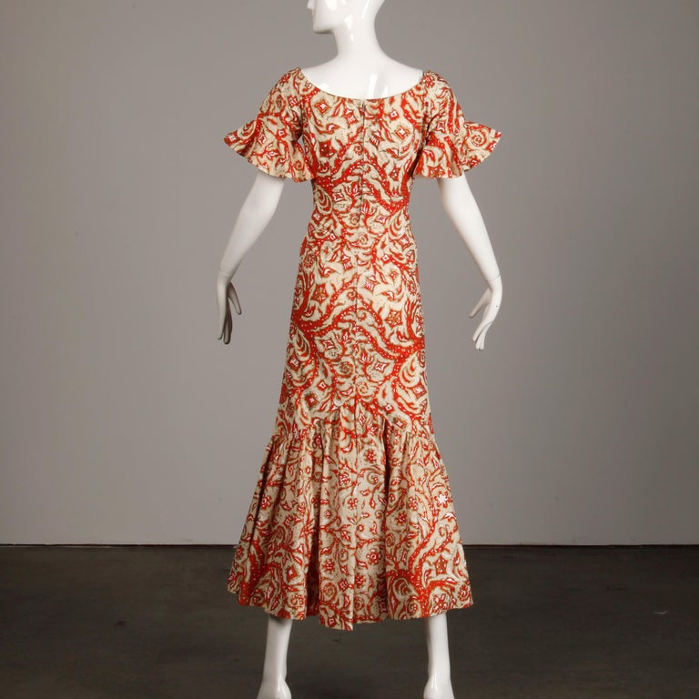 1950s Vintage Surf and Shore Hawaiian Silk Screen Print Dress with Bell Sleeves For Sale 1