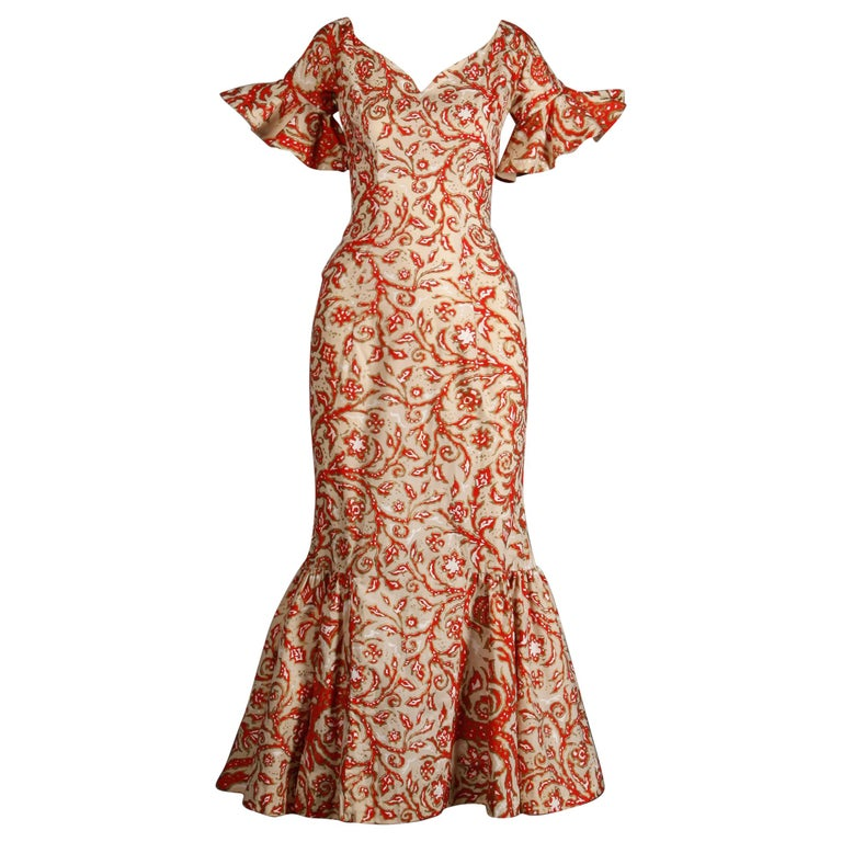 1950s Vintage Surf and Shore Hawaiian Silk Screen Print Dress with Bell Sleeves For Sale