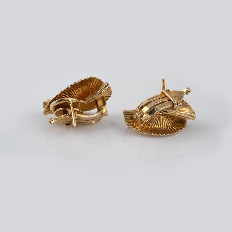 Modernist 1950s Vintage Tiffany & Co 14 Karat Gold Double Fan Clip Earrings For Sale