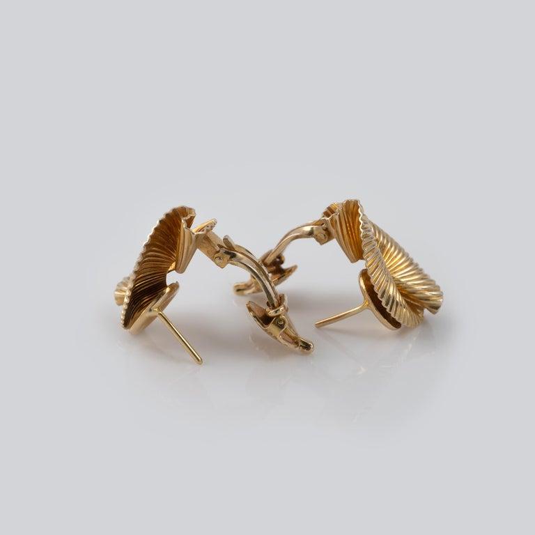 1950s Vintage Tiffany & Co 14 Karat Gold Double Fan Clip Earrings For Sale 2
