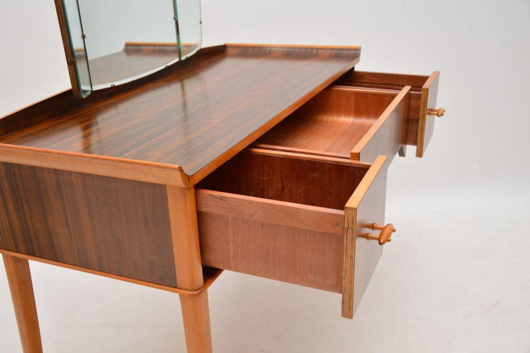 1950s Vintage Walnut Dressing Table For Sale 3