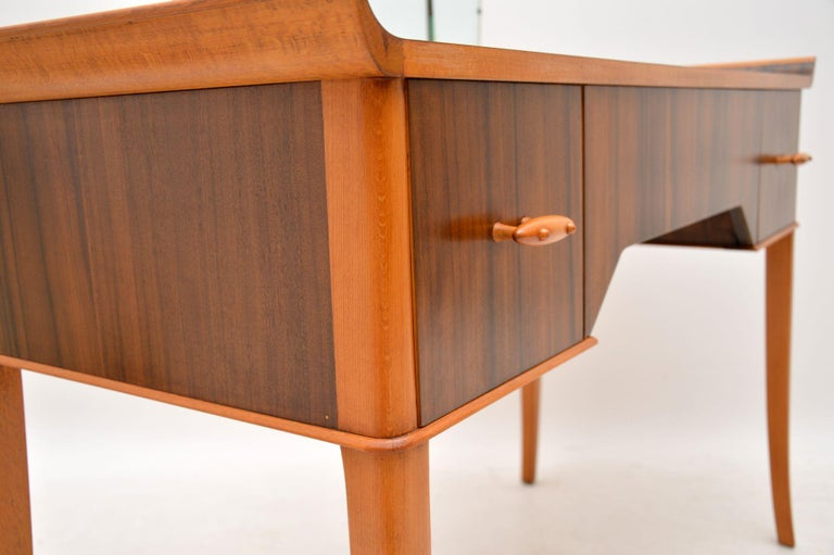 1950s Vintage Walnut Dressing Table For Sale 4