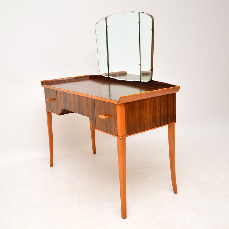 Mid-Century Modern 1950s Vintage Walnut Dressing Table For Sale
