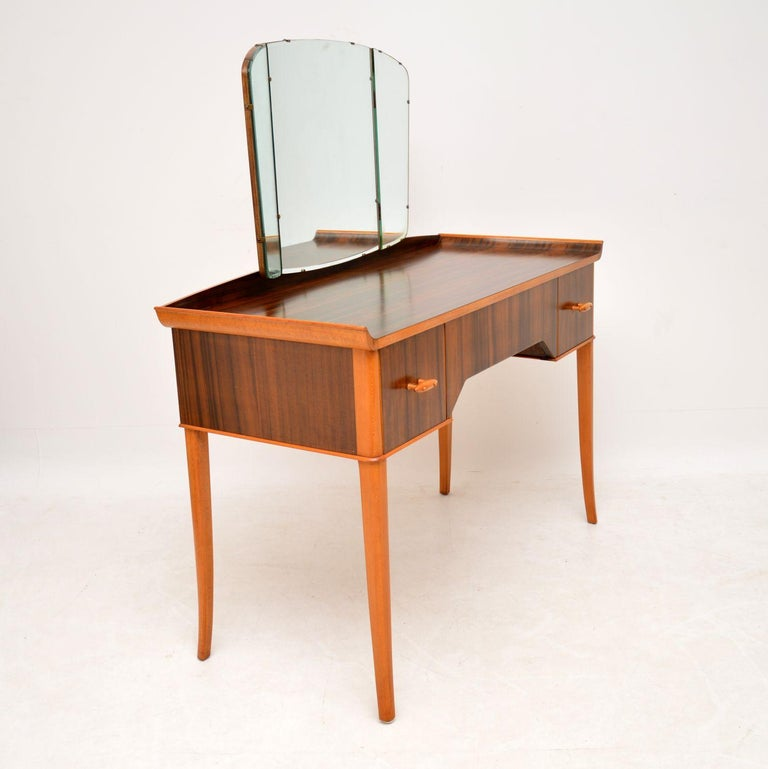 British 1950s Vintage Walnut Dressing Table For Sale