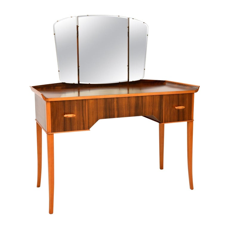 1950s Vintage Walnut Dressing Table For Sale