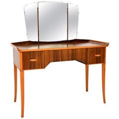 1950s Vintage Walnut Dressing Table