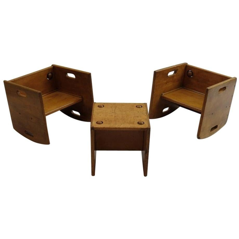 1950s Vintage Wooden Childs Chair Set Chair and Table Set Toy Push Along