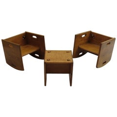 1950s Vintage Wooden Childs Chair Set
