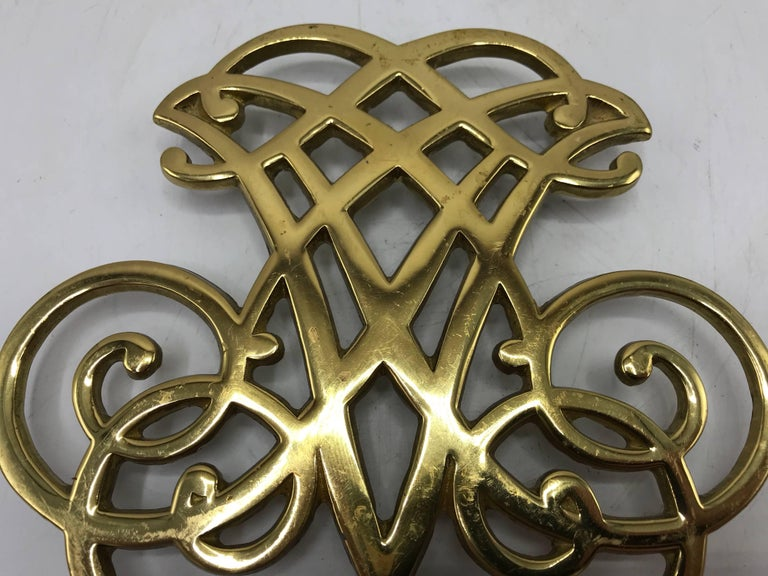 American 1950s Virginia Metalcrafters Thomas Jefferson Monticello Cypher Brass Trivet For Sale