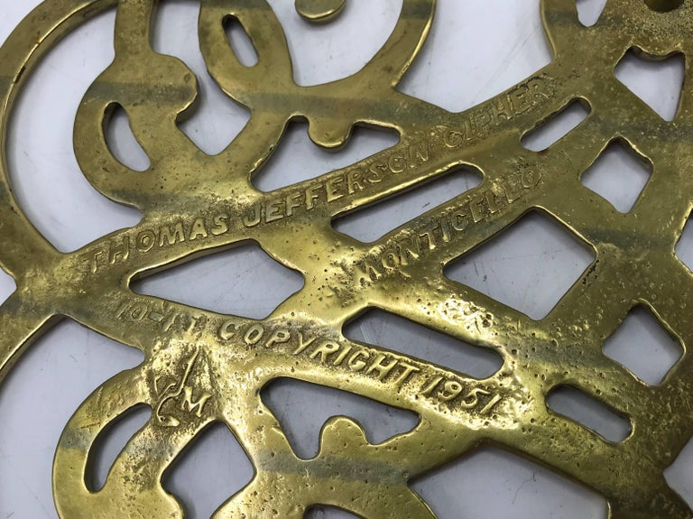 1950s Virginia Metalcrafters Thomas Jefferson Monticello Cypher Brass Trivet For Sale 2