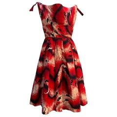 1950s Waikiki Sports Red White & Black Cotton Sun Dress W/ Seahorse & Wave Print