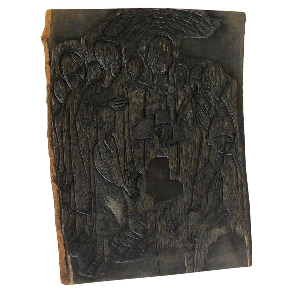 1950s Wall Hanging Carved Wooden Print Block by Pauline Jacobsen Christian Soul