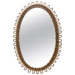 1950s Wall Rattan Mirror