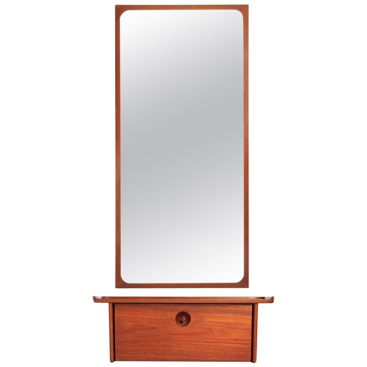 1950s Wall Shelf and Mirror by Ludvig Pontoppidan