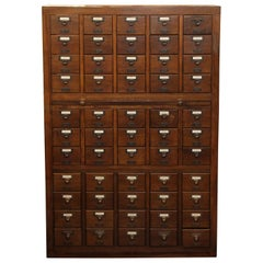 1950s Walnut Card Catalog with Trays and Brass Hardware in a Dark Wood Tone