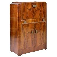 1950s Walnut Cocktail Bar Cabinet Turnidge of London