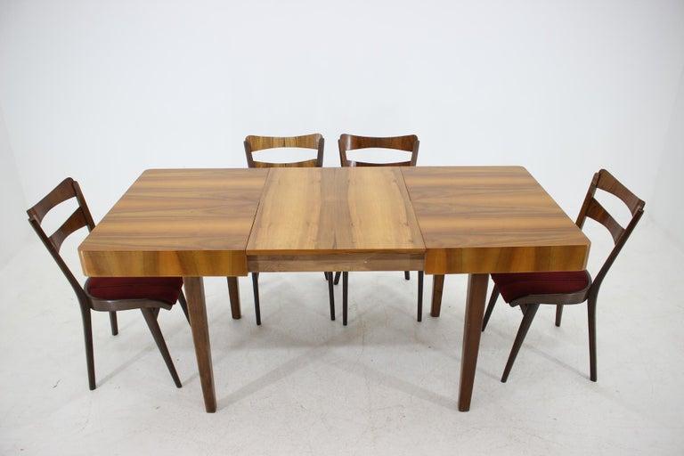 Mid-Century Modern 1950s Walnut Dining Set, Czechoslovakia For Sale