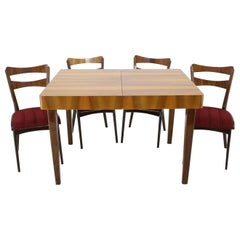 1950s Walnut Dining Set, Czechoslovakia