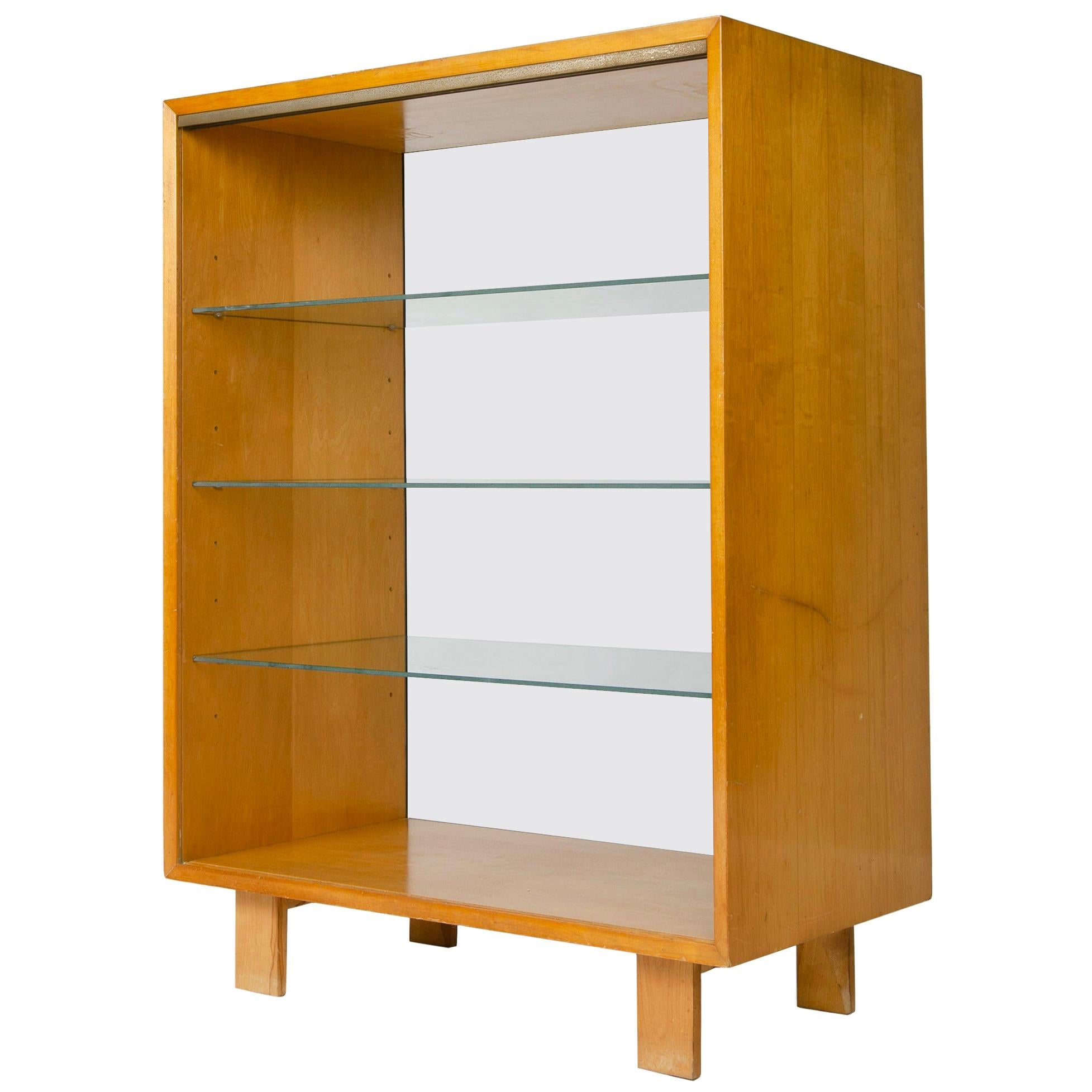 1950s Walnut Open Cabinet with Glass Shelving by George Nelson for Herman Miller