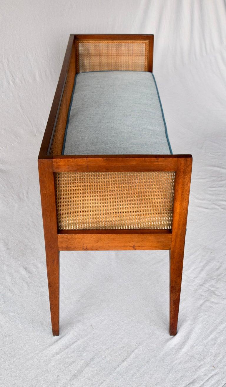 Cane 1950s Walnut Window Bench Attributed to Edward Wormley for Dunbar