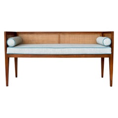 1950s Walnut Window Bench Attributed to Edward Wormley for Dunbar