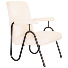 "1950s ""Wave"" Lounge Chair in Tubular Iron and White Chenille, Brazil Modernism"