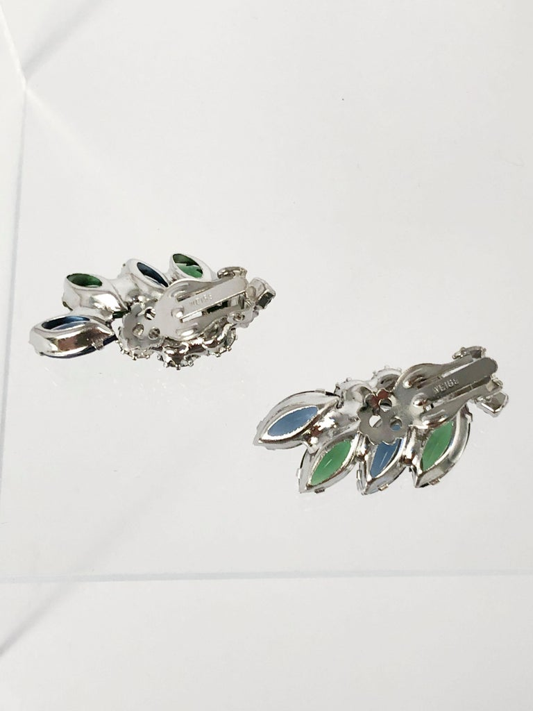 1950's Weiss Blue and Green Rhinestone Earrings In Good Condition For Sale In San Francisco, CA
