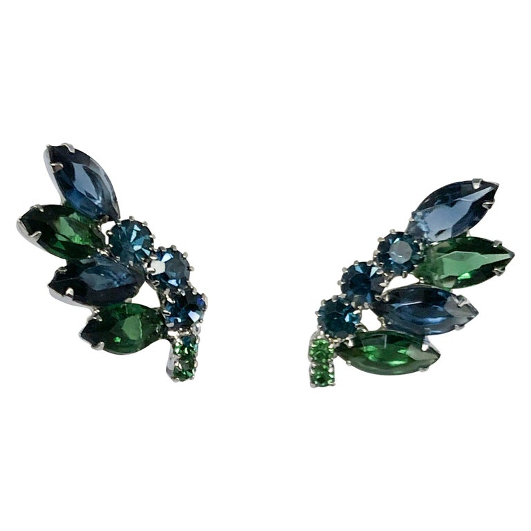 1950's Weiss Blue and Green Rhinestone Earrings For Sale