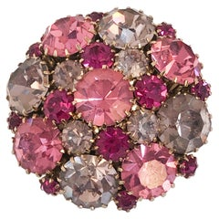 1950s Weiss Fuchsia, Pink, and Light Pink Rhinestone Round Brooch
