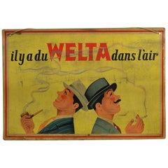 1950s Welta Tobacco Advertising Sign , Belgium