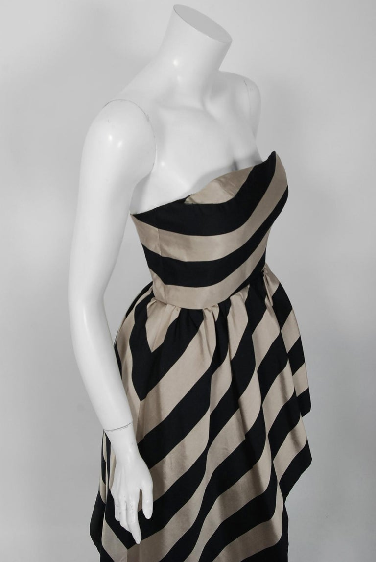1950's Werle of Beverly Hills Black & Taupe Bold Stripe Silk Strapless Gown In Excellent Condition In Beverly Hills, CA