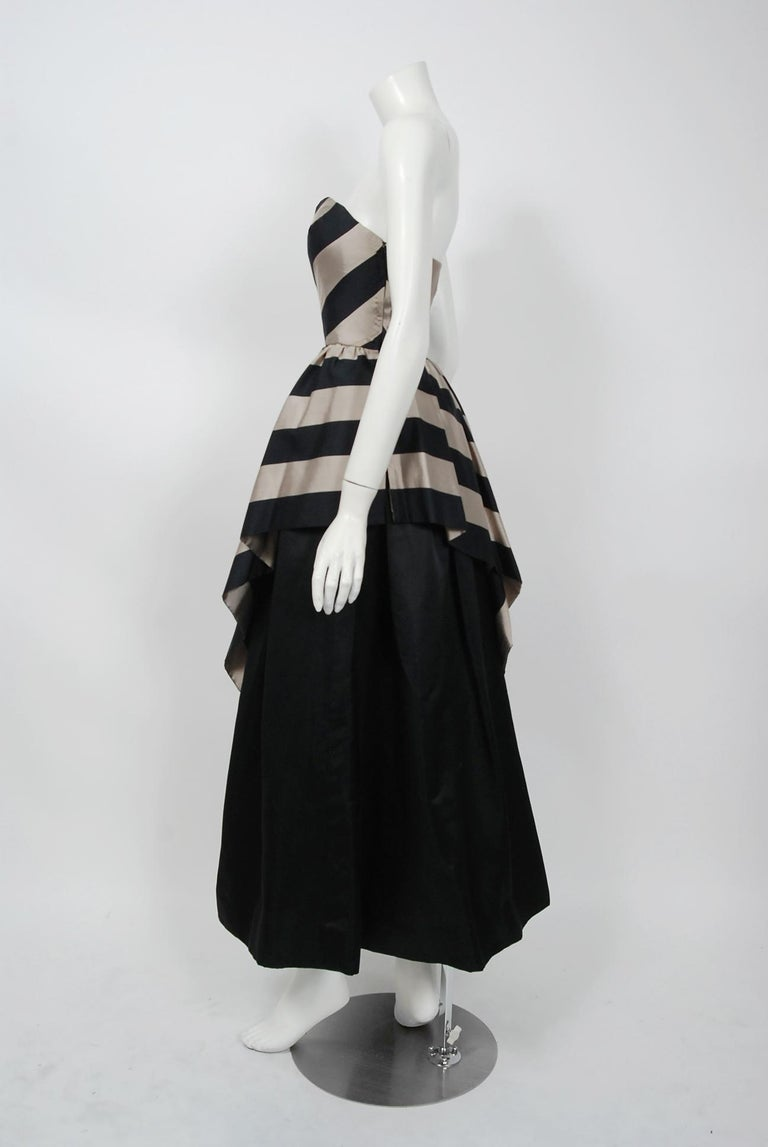 1950's Werle of Beverly Hills Black & Taupe Bold Stripe Silk Strapless Gown 1