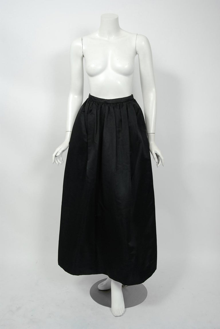 1950's Werle of Beverly Hills Black & Taupe Bold Stripe Silk Strapless Gown 2